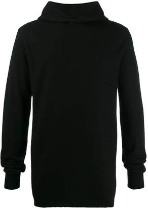 Rick Owens cashmere hooded knitted sweater