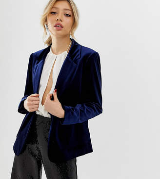 Miss Selfridge Petite velvet blazer in navy