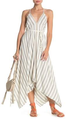 Love Stitch Striped Wrap Around Asymmetrical Halter Dress