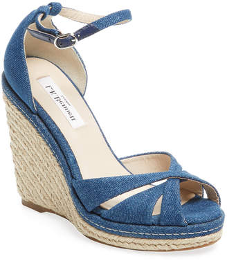 LK Bennett L.K.Bennett Litya Strappy Denim Wedge