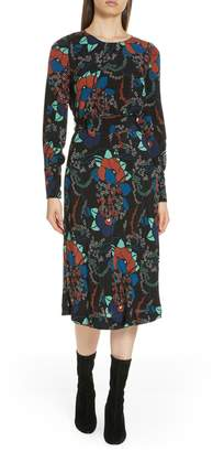 BA&SH Abelia Floral Plunge Back Silk Dress