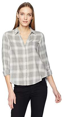 Calvin Klein Jeans Women's Long Sleeve Neutral Plaid Flannel Shirt