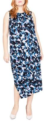 Rachel Roy Print Drape Back Midi Dress