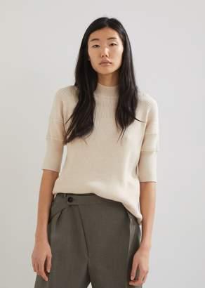 Jil Sander Jersey Wool High Neck Ribbed Sweater