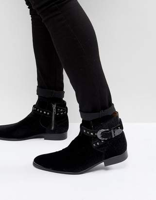 House of Hounds House Of Hounds Axel Embossed Velvet Buckle Boots In Black