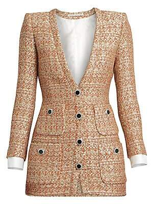 Alessandra Rich Women's Dressing For Pleasure V-Neck Sequin Tweed Mini Dress