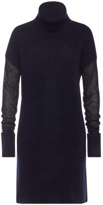 Maison Margiela Wool Sweater Dress with Semi-Sheer Sleeves