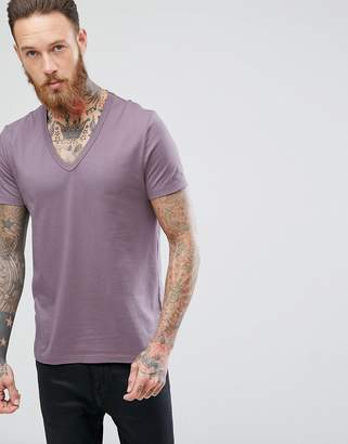 Asos T-Shirt With Deep V In Purple