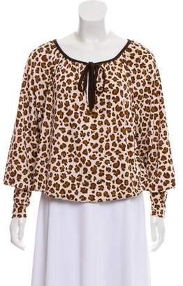 Tory Burch Cheetah Long Sleeve Top