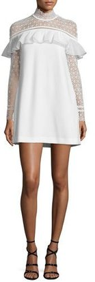 Self Portrait Long-Sleeve Lace-Trim Crepe Mini Dress, White $395 thestylecure.com