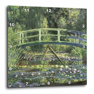 3dRose Water Lilies and Japanese Bridge Monet Vintage, Wall Clock, 15 by 15-inch