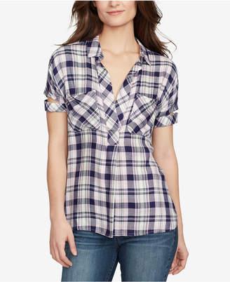 William Rast Plaid V-Neck Shirt