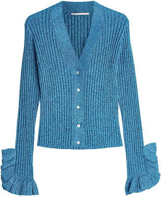 Marco De Vincenzo Knit Cardigan with Metallic Thread and Ruffles