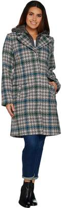 Isaac Mizrahi Live! Houndstooth Coat with Removable Hood