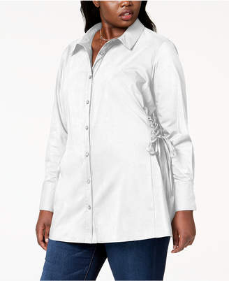 NY Collection Plus Size Corset Shirt