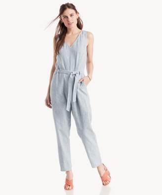 Sole Society Railway Stripe Tie Waist V-Nk Jumpsuit