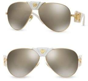 Versace 62MM Mirrored Leather-Wrapped Pilot Sunglasses