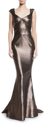 Zac Posen Sweetheart Cap-Sleeve Lame Mermaid Gown