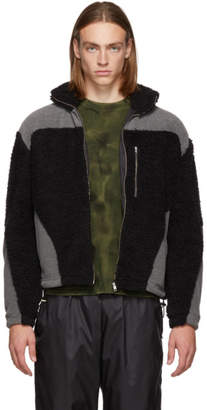 GmbH Black and Grey Teddy Fleece Kol Zip-Up Sweater