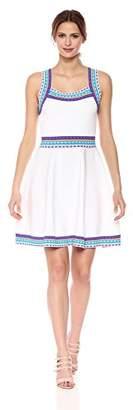 Milly Women's Woven Trim Scoop Flare Dress