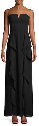 Halston H Strapless Side Ruffle Gown