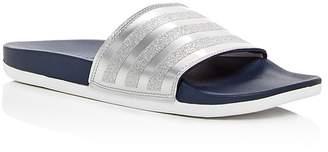 adidas Women's Adilette Comfort Glitter 3-Stripe Pool Slide Sandals
