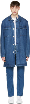 Sunnei Blue Denim Long Pocket Jacket $885 thestylecure.com