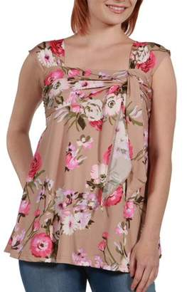 24/7 Comfort Apparel 24Seven Comfort Apparel Women's Britt Brown and Pink Floral Wrap Tunic Top