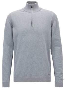 BOSS Hugo Zipper-neck sweater in a stretch-cotton M Open Grey