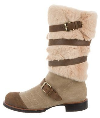 Chanel Shearling Mid-Calf Boots