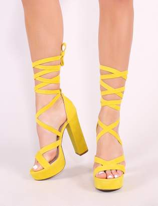 1fc61817356 at Public Desire · Public Desire Stella Lace Up Heels Faux Suede