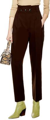 Topshop Emilie Paperbag Waist Tapered Trousers