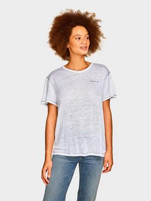 """White + Warren Linen """"Woman Up"""" Embroidery Tee"""