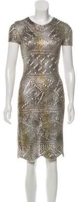 Oscar de la Renta Silk Knee-Length Dress Gold Silk Knee-Length Dress