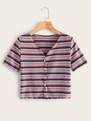 Shein Multi-stripe Button Front V-neck Ribbed Tee