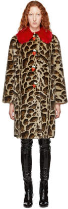 Dolce & Gabbana Multicolor Leopard Eco Faux-Fur Coat