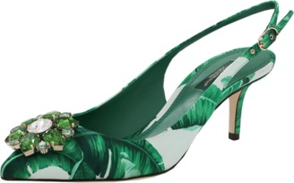 DOLCE & GABBANA Jeweled Leaf Print Slingback $945 thestylecure.com