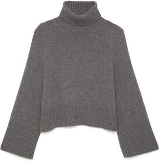 Co Flared Sleeve Turtleneck Sweater in Grey