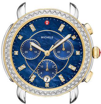 Michele 38mm Sidney Diamond Chronograph Watch Head, Blue/Two-Tone