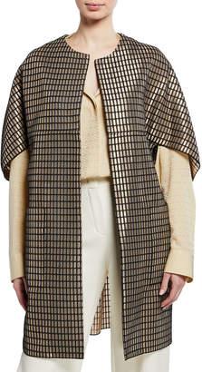 Josie Natori Woven Metal Open-Front Cardigan Coat