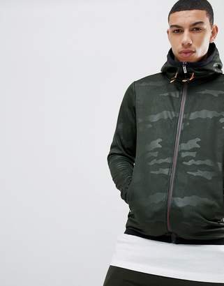 Soul Star Tonal Camo Neon Contrast Zip Through Jacket