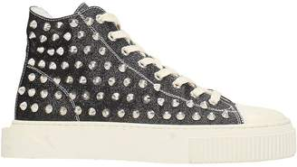 Gienchi Jean Michel Hi Black Glitter Sneakers