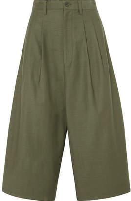 Junya Watanabe Cropped Cotton Wide-leg Pants - Army green