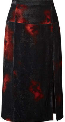 Altuzarra Printed Crushed-velvet Midi Skirt - Black