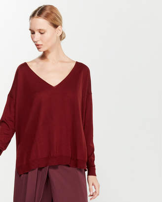 Liviana Conti V-Neck Wool Tunic Sweater