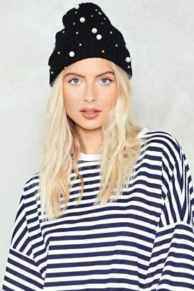 Nasty Gal You're My Pearl Embellished Beanie