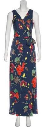 Diane von Furstenberg Silk Floral Print Maxi Wrap Dress