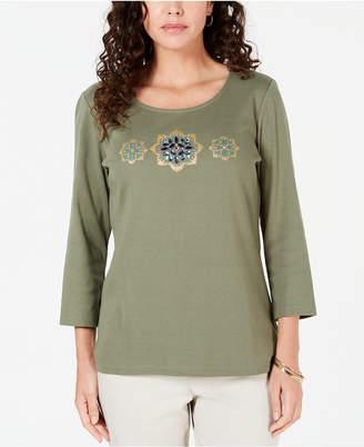Karen Scott Petite Rhinestone-Embellished Cotton Top
