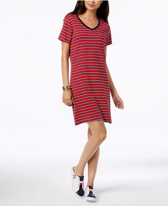 Tommy Hilfiger Cotton V-Neck T-Shirt Dress, Created for Macy's