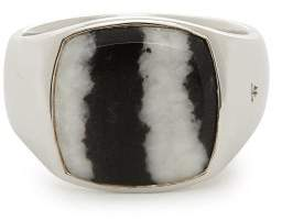 Tom Wood - Zebra Striped Sterling Silver Signet Ring - Mens - Silver
